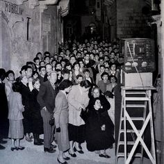 People congregate to watch the first television in Gozo, Sister Island of Malta, 1958 Old Pictures, Old Photos, Vintage Photos, Malta Italy, Malta History, Malta Gozo, Malta Island, First Tv, Beautiful Islands
