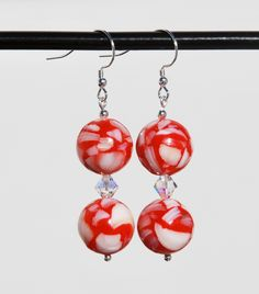 Red and white mother of pearl earrings, sterling earring, swarovski earrings, red shell earrings, white shell earrings, mother of pearl bead by KarmaKittyJewelry on Etsy