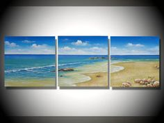 hand-painted Beach blue sky clouds High Q. Wall Decor Modern Abstract Oil Painting on canvas 16x16inch 3pcs/set mixorde Framed