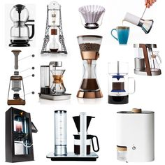 Twelve of the latest in coffee brewing and preparation devices bring barista quality preparation into the home with a splash of high design.