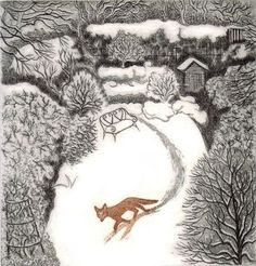 "Elaine Marshall ~ ""fox in winter"" (etching)"