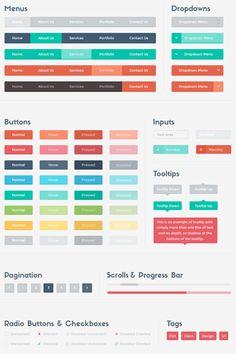 Flat Colorful Ui Kit (Psd)