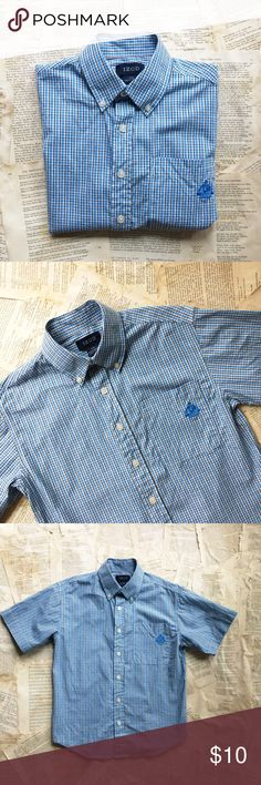 Kids! IZOD Button Down Shirt Kids! IZOD Button Down Shirt. Short sleeves. Blue, black, and white plaid. IZOD logo on front pocket. Worn once. 100% cotton. Size small or boys 8. Izod Shirts & Tops Button Down Shirts