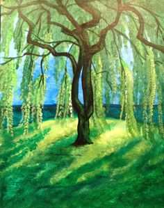 simple paintings Weeping-Willow Large