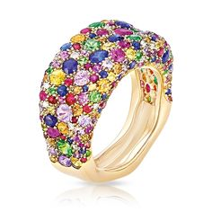 Emotion Multi-coloured Thin Ring features multi-coloured sapphires b6c12ea1551c1