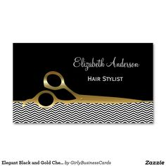 Elegant Black and Gold Chevrons Hair Salon