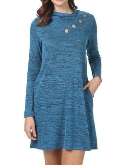 levaca Women's Long Sleeve Button Deco Turtleneck Loose Casual T Shirt Dress