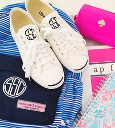 monogrammed backpack and monogrammed converse from The Monogrammed Home