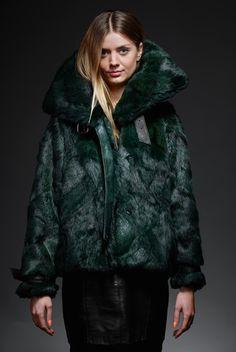 green rabbit fur jacket – horovitz