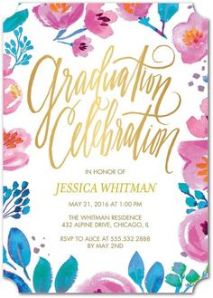Floral fun to celebrate the spring grad. Throw a graduation party with cute invitations.