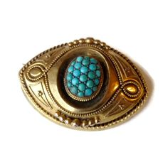Victorian Hair Brooch  14k Gold and Turquoise  by PatriciaCohn, $525.00