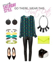 """""""Saturday Style: Go There, Wear This - First Date"""" by colorbyamber ❤ liked on Polyvore featuring Helmut Lang, Equipment, Gianvito Rossi and Rafia"""
