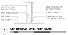 """Baseless: The most minimal of the bunch is actually a baseless condition where a piece of Z-metal separates the drywall from the floor leaving a ¾"""" reveal –or shadow line as we like to call it. The application is only used in certain situations, typically industrial or commercial applications where there isn't a lot of foot traffic. Used correctly, it can give that sparse Chelsea gallery look that puts focus on the things and people in the room rather than the room itself."""