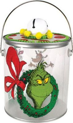#Christmas #Seuss Welcome to Whoville - Grinch Cookie Pail. A project sheet can be found here: http://www.craftsdirect.com/default.aspx?PageID=311=587