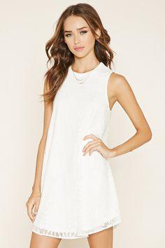 ce7cd40852f1 Crocheted-Lace Mini Dress White Sleeveless Dress, White Floral Dress, High  Neck Lace