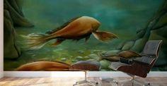 Mural Print,  interior,decor,decoration,wall,art,room,design,modern,cool,unique,artistic,beautiful,painting,green,brown,fish,underwater,ocean,deep,sea,saltwater,reefs,bottom,floor,big