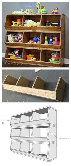 build these bulk bins out of 1x12 boards! Easiest plans out there by ANA-WHITE.com: