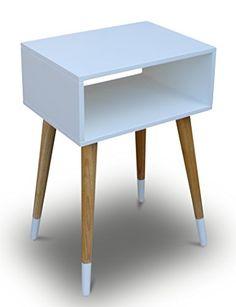 Telefontisch Holz Weiß 40 x 30 x 60 cm Nachtschrank Nachttisch Konsole Konsolentisch Beistelltisch Schränckchen Kommode Anrichte Modern Skandinavisch Retro Design Look NEU