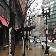 Downtown Boston in a snowy ⛄ & rainy ☔ day (2013.03.19) #downtown #boston #snow #rain #massachusetts