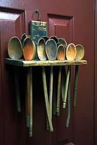 Colonial and primitive country home decor FARMHOUSE PRIMITIVES.vintage wooden spoon hoard i will do this for sure in mtn home