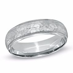 Mens Hammered Wedding Band In Sterling Silver by JewelryHub on Opensky