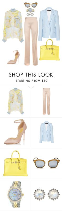 """Business Casual #5"" by mary-en ❤ liked on Polyvore featuring Emilio Pucci, Haider Ackermann, Hermès, Christian Dior, Rolex, Anzie and businessinsummer"