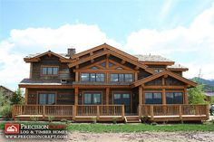 log cabins exterior pictures | Post and Beam Log Home | Exterior Elevation | PreciisonCraft Log Homes ...