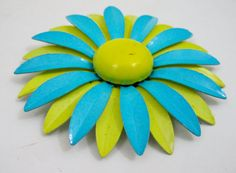 1960s MOD Dress Pin  Aqua & Yellow Enamel Daisy by 4birdsvintage