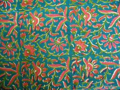 Indian Cotton Floral Block Print Sari Border Fabric in Teal Color by Yard