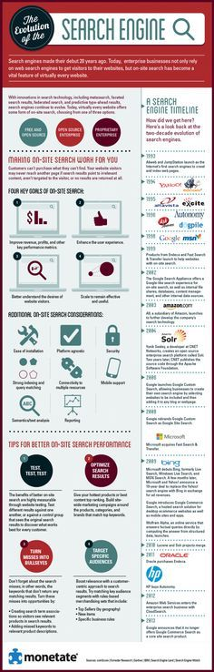 Search has been around for 20 years and this infographic details some key events in the history of search marketing and development of search technology as well as tips and other considerations for search optimization.