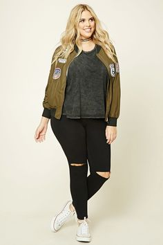 Plus Size Patched Bomber Jacket