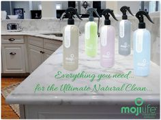 MojiLife MojiClean, Toy Cleaner, Glass & Surface Cleaner, All Purpose Cleaner, Odor Eliminator and Tile & Shower Cleaner.