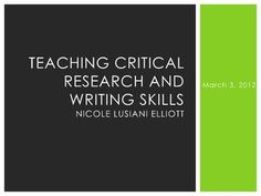 resurrecting-the-research-paper-to-prepare-our-students-for-college by Nicole Lusiani Elliott via Slideshare