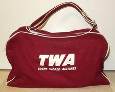 Trans World Airlines TWA Vintage Zipper Pilot Travel Flight Carry On