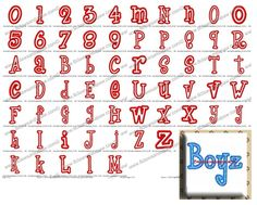 Boyz are Gross Applique Font  Sizes: 3in, 4in, 5in  Upper & Lower Case, Numbers 0-9