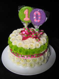 Birthday Flower Cake Bright cakeshaped arrangement of bright