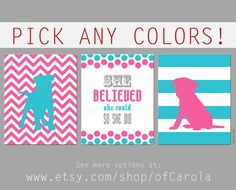 Girls She Believed She Could So She Did Quote Wall Art Print Set THREE, Personalize Nursery Chevron Turquoise Hot Pink Gray White ofCarola