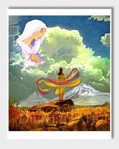 Blessed Armenia Mother Mary Saint Mary Armenian Flag by DoniainArt Armenian Flag, Armenian History, Armenian Culture, Christian Paintings, Donia, Ukrainian Art, Flag Art, Metallic Prints, Art Thou
