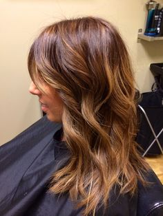 Chestnut hair color with honey tones