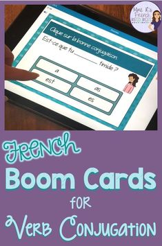 These digital task cards at Boom Learning are a fun way to practice French verb conjugation. Use them in classes or to use more technology in class! Study French, Core French, Learn French, French Verbs, French Grammar, French Lessons, Spanish Lessons, French Flashcards, French Worksheets