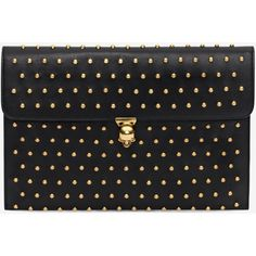 Alexander McQueen Black Nappa Leather Studded Skull Closure Envelope (20.621.040 VND) ❤ liked on Polyvore featuring bags, handbags, clutches, black, alexander mcqueen purse, alexander mcqueen clutches, alexander mcqueen, skull purse and studded purse