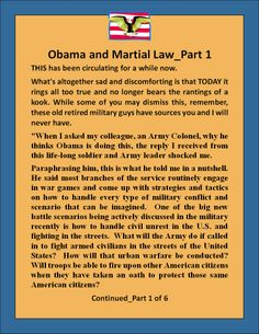 I have to do this Obama's Plan for Martial Law_1 of 6, look for the other 5 on either pinterest or however you can and read them. This is just scarry.