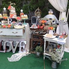 Gorgeous vintage bridal shower party! See more party ideas at CatchMyParty.com!