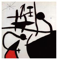 Dona i ocells en la nit by Joan Miró, (1968)