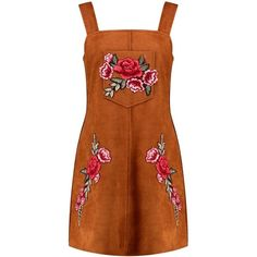 Boohoo Boutique Boutique Crisa Embroidered Suede Pinafore Dress found on Polyvore featuring dresses, pinafore, brown cami, brown bodycon dress, special occasion dresses, day to night dresses and evening dresses