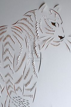 Tiger Hand Cut Paper & Acrylic, by Lisa Rodden Kirigami, Origami Paper, Paper Quilling, Paper Flower Art, Cut Paper Art, Folded Book Art, Book Folding, Book Sculpture, Paper Sculptures