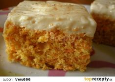 Nadýchané a odlehčené mrkvové řezy, které měly velký úspěch:-) Czech Recipes, Ethnic Recipes, Sweet Recipes, Healthy Recipes, Sweet Cakes, Carrot Cake, Vanilla Cake, Baking Recipes, Sweet Tooth