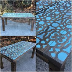 A table painted and stenciled in blue by the Matter Boutique using the Covington Allover Stencil a popular furniture pattern from Cutting Edge Stencils. http://www.cuttingedgestencils.com/stencil-stencils-covington.html