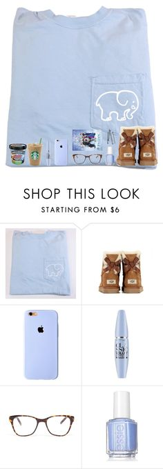 """Wishing I could just stay home from school, wear this, and just chill💤🍦🖥😭"" by tropical-girl-xo ❤ liked on Polyvore featuring UGG Australia, Maybelline, Prism, Essie, BOBBY and Disney"
