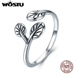 Wostu Authentic Thai S925 Sterling Silver Open Ring Leaves' Sweet Talk Jewelry